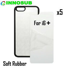 5x Blank Dye Cases cover custom skin Sublimation For iPhone 6 PLUS- Rubber Black