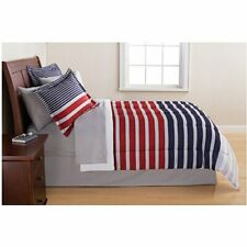 Mainstays Grey & Blue Stripe Bed in a Bag 6 Piece Twin Comforter Sheet Set