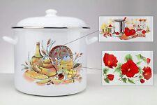 15 Quart Enamel Kitchen Stock Pot With Lid, Flower/ tomato pattern, White