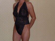 Stretch Lace Playsuit in Black / Purple 12/14