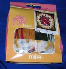 RARE VTG 1980'S PHILDAR CROSS STITCH PILLOW CRAFT KIT, ANGELA TRADITIONAL ROSES