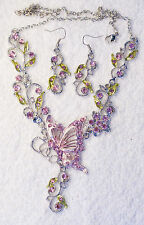 jewelry set pink crystal butterfly necklace earrings Silver tone set