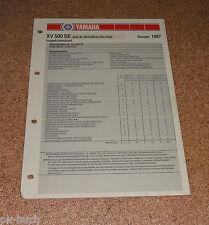 Inspektionsblatt Yamaha XV 500 SE Typ 26R Baujahr 1987