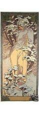 "Alphonse Mucha ""WINTER"" 59"" x 25"" 150 CM x 65 cm Completamente Foderate Arazzo Appeso a Parete"
