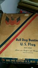 48 Star flag Bulldog Bunting USA NEW IN ORIGINAL BOX STORED FOR 60 YEARS