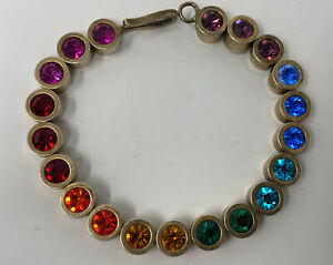 Vintage Patricia Locke Colorful Tennis Bracelet Multicolored Swarovski Crystals