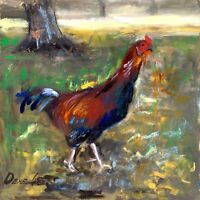 Rooster Chicken Bird Oil painting 8x8in Realism Signed by Author Natalie Demenko