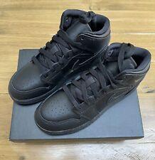 Nike Air Jordan 1 Mid GS Triple Black Older Kids Size UK4 Brand New Unworn