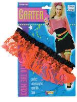 Adult 1980's 80's Neon Orange Lace Garter Rave Party Disco Wedding Fancy Dress