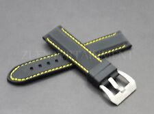 24MM Black Yellow Rubber Strap band  Buckle Replacement fits Panerai Luminor Pam