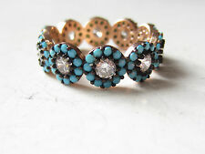 Rose Gold Plated Over 925 Sterling Silver Turkish Turquoise Flower Ring Sz 8,25