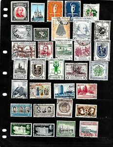 COLOMBIA : NICE  'MID CENTURY'  STAMP COLLECTION   DISPLAYED ON 7 SHEETS.
