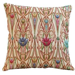 """Classic Art Deco Cushion. 17x17"""" Square Cover. Traditional Mackintosh Tapestry."""