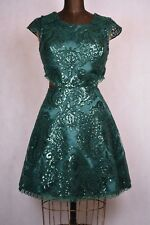dark green sequin cocktail formal prom dress open back and sides lace size 7 med