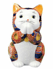 LUCKY CAT Maneki-noko Praying Posture Cat KUTANI ART Ceramic Made In Japan