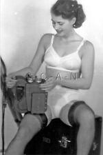 1940s-60s (4 x 6) Repro Risque Pinup RP- Holds Camera- Panties- Bra- Garter
