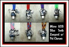Lanyard Usb Bluetooth Paracord Lanyard w/Dog & Cat Charms, in 11 Colors