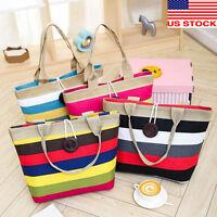 Women Canvas Tote Shoulder Handbag Shopping Bag Colored Stripes Folding Bags