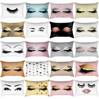 Home Decor Eyelash Out Soft Velvet Cushion Cover Bed Marble Pillow Cases 30x50cm