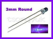 50 Ultra Violet UV 3mm Round LEDs Free Resistors
