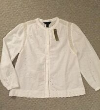 NWT J Crew Petite Eyelet Button-up Shirt Blouse G2747 White SZ 10P SOLD OUT!!