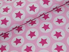 Baumwollstoff Meterware Baumwolle Stoff Sterne im Kreis rosa pink Dekostoff