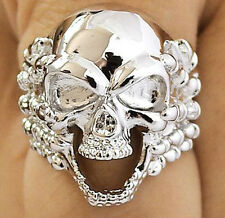SKULL HAND BONE CLAW SILVER PLATED BRASS MENS RING 14.5