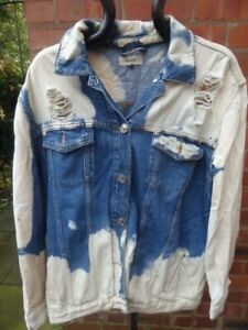 mens RIVER ISLAND distressed/ripped denim jacket - size L great condition