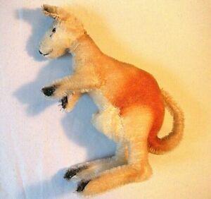 "10"" Vintage Mohair Kangaroo Doll 1950s Steiff Germany Movable Arms Ear with Tag"