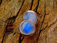 Genuine 925 Sterling Fine Silver With White Rainbow Moonstone Gem Studs Earrings