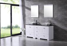 "60"" Bathroom Double Wood Vanity Cabinet Solid Ceramic Vessel Sinks w/Mirror"