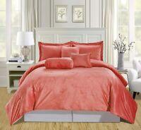 7Pc King Solid Coral/Light Grey Micromink Velvet Comforter Set Bedding