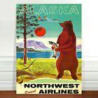 "Cool retro Travel Poster Art CANVAS PRINT 8x12"" Alaska bear"
