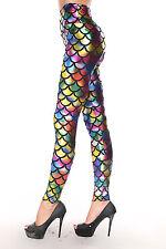 Womens rainbow Metallic mermaid fish scale leggings fancy dress size 8 & 10