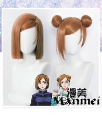 Anime Jujutsu Kaisen  Kugisaki Nobara Cosplay Wig Women Cos bobo Hair Meatballs
