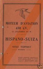 Hispano Suiza 12W 450cv 12W 12Y V12 Aero technical manual 1930's PERIOD HISTORIC