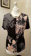 Austin Reed flesh colour pink / Black Floral Print Blouse/Top Size S