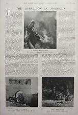 1902 PRINT REBELLION IN MOROCCO REBEL HORSEMAN LIGHTING BEACON CITY WALLS LARKA