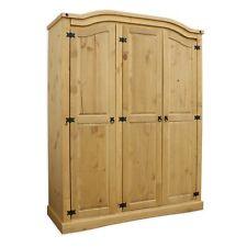 Mexican Rustic Solid Wooden Pine Corona 3 Door Wardrobe + Shelves Solid Storage