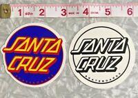 New Santa Cruz Dot Skate 2-Stickers Lot Purple & Clear Skateboard Decals Reissue