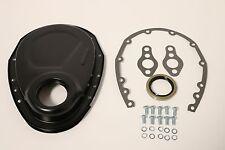 Black SB Chevy Timing Chain Cover Kit 327 350 383 400 SBC Gasket Seal Bolts Set