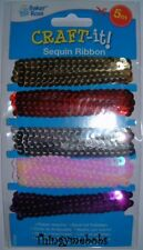 5M SEQUIN RIBBON PACK - GOLD/RED/SILVER/PINK/PURPLE - CHRISTMAS CRAFTS/SEWING