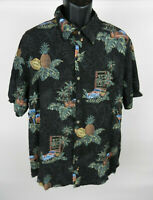 Batik Bay XXL Mens Hawaiian Shirt Black Green SS Palm Trees Pineapple Aloha
