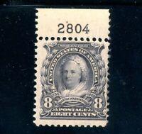 USAstamps Unused FVF US Serie of 1902 Martha Washington Plate # Scott 306 OG MNH