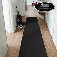Moderne Läufer schwarz Teppich Korridor Flur Diele Breite 50 60 70 80 90 100 120