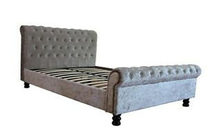 4FT Small Double Crushed Velvet Silver Sleigh Bed 99p No Reserve