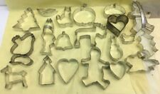 VINTAGE 20 OLD ALUMINUM COOKIE CUTTERS Xmas, Halloween, Thanksgiving, Valentine