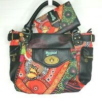 Desigual McBee Lluka Handbag Shopper Tote Purse Black Orange w Matching Wallet
