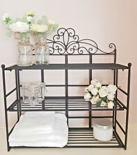 SHABBY CHIC METAL WALL SHELF UNIT STORAGE RACK BATHROOM KITCHEN DISPLAY STAND