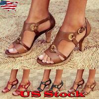 Women's Vintage Ankle Strap Shoes Open Toe Dress Block High Heels Sandals Pumps